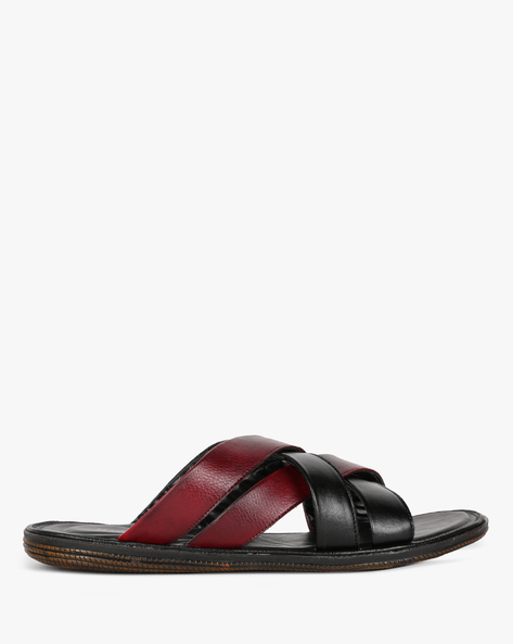 Textured Flip-Flops With Criss-Cross Straps By STELVIO ( Black )