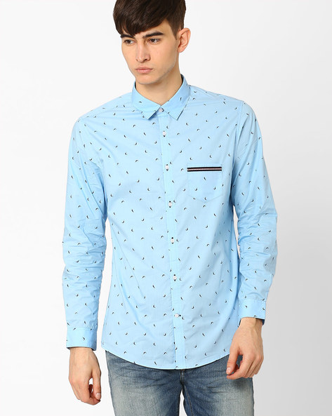 Printed Slim Fit Shirt By MR.BUTTON ( Blue )