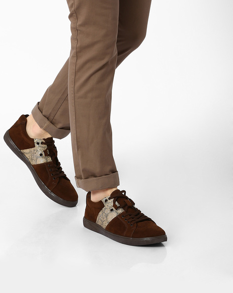 Brogue Sneakers With Snake Panel By Funk ( Brown )