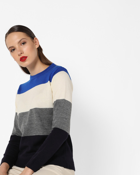 Colourblock Knitted Pullover By AJIO ( Blue )