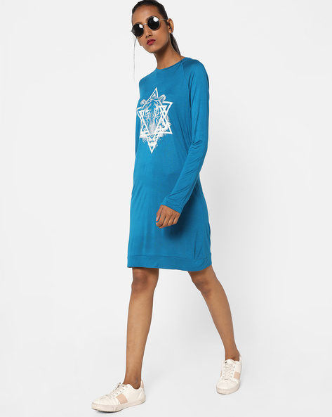 Printed Jersey Shift Dress By AJIO ( Blue )
