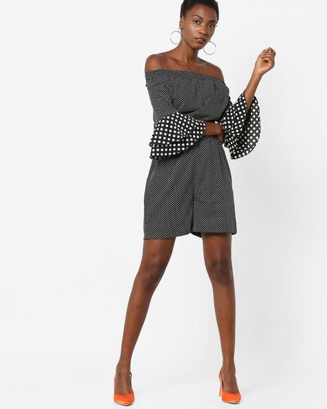 Polka-Dot Print Off-Shoulder Playsuit By AJIO ( Black )