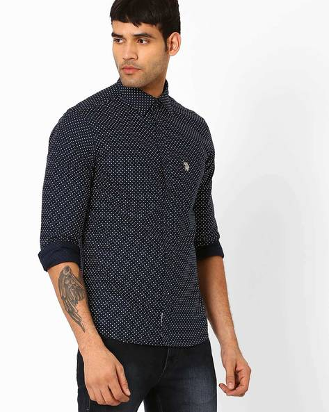 Star Print Cotton Shirt By US POLO ( Navy )