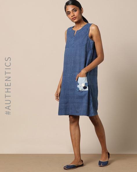 Indigo Hand-Block Print Cotton Shift Dress By Indie Picks ( Indigo )