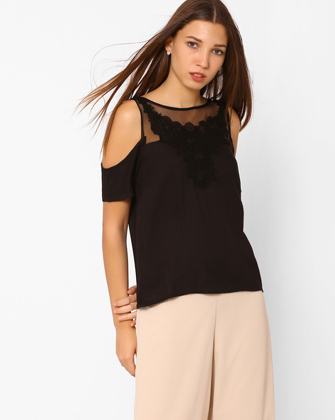 Cold-Shoulder Top With Lace Yoke By Rena Love ( Black )