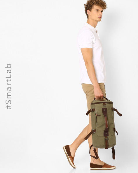 Canvas Duffle Backpack By AJIO ( Olive )