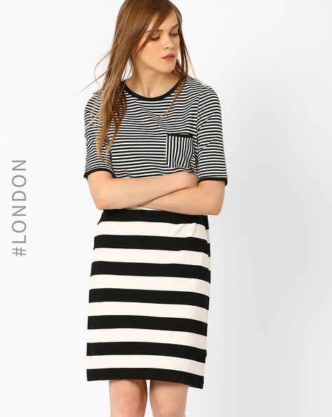 Striped Sheath Dress With Patch Pocket By Marks & Spencer ( Black )