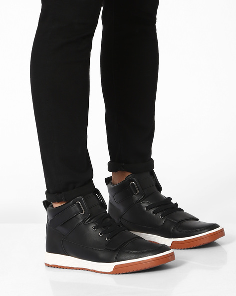 Panelled Mid-Top Lace-Up Shoes By AJIO ( Black )