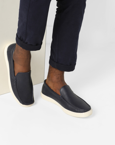 Textured Slip-Ons With Moc-Stitched Upper By Spunk ( Navy )