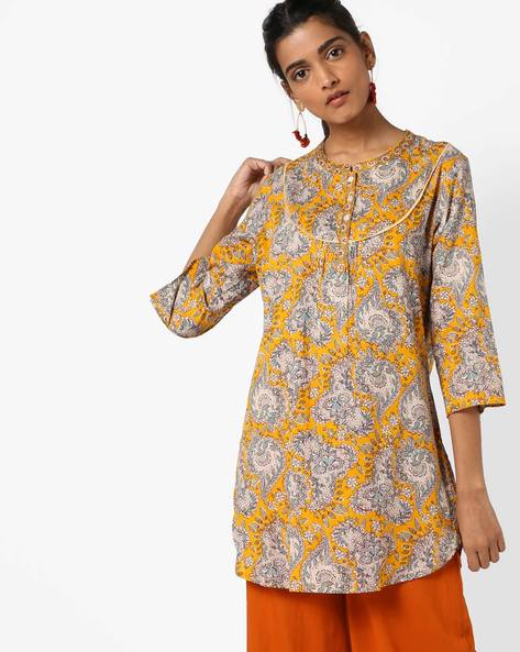 Floral Print Kurti By Melange By Lifestyle ( Yellow )