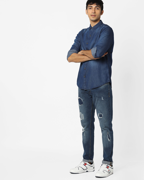Lightly Washed Slim Denim Shirt By AJIO ( Blue )