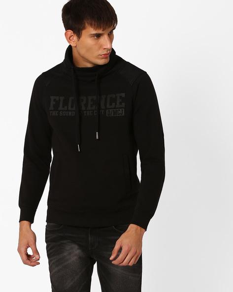 Printed Hooded Sweatshirt By MONTE CARLO ( Black )