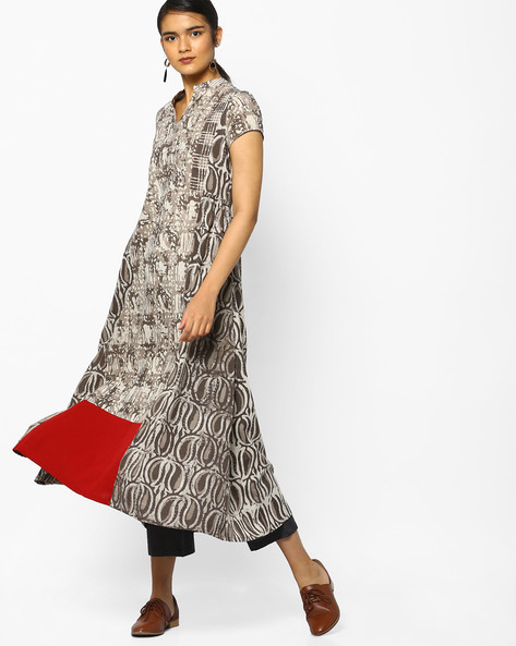 Printed Midi Dress With Contrast Panel By Project Eve IW Fusion ( Brown )