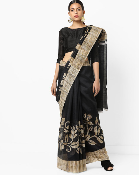 Floral Print Saree With Contrast Border By Florence ( Black )