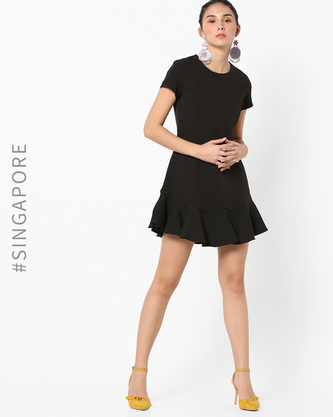 A-line Mini-Dress With Ruffled Hemline By MDS ( Black )