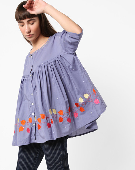 Flared Top With Embroidery By AJIO ( Grey )