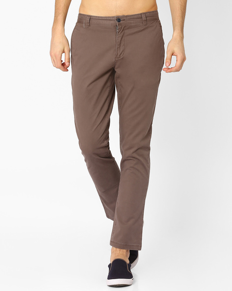 Mid Rise Slim Fit Stretch Chinos By AJIO ( Grey )