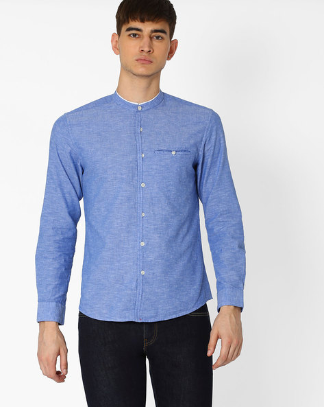 Casual Shirt With Band Collar By NETPLAY ( Blue )