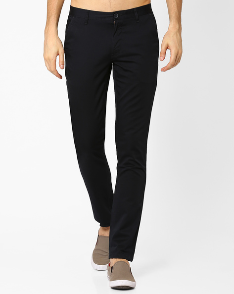 Slim Fit Cotton Trousers By JOHN PLAYERS ( Blue )
