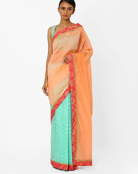 Half & Half Saree With Semi-Stitched Blouse By AJIO ( Blue )