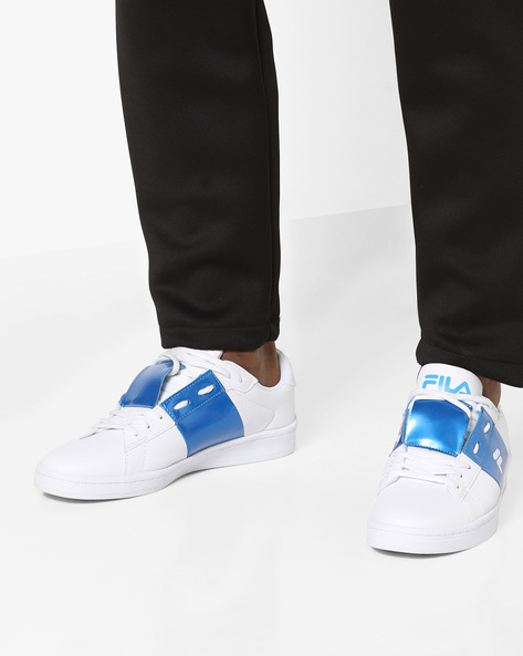 Low-Top Lace-Up Casual Shoes By FILA ( White )