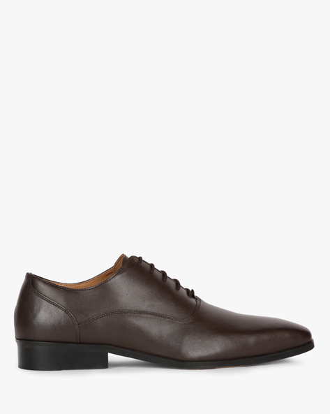 Genuine Leather Formal Shoes With Lace-Ups By Hats Off Accessories ( Brown )