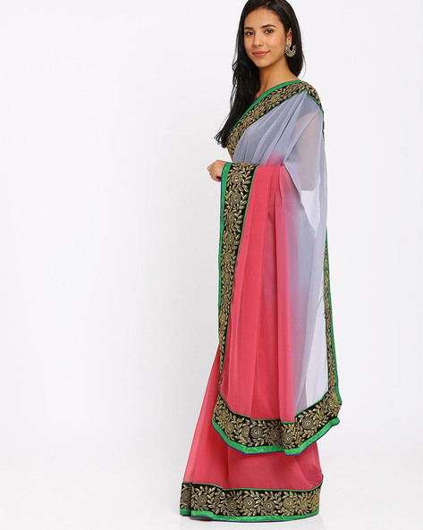 Embroidered Chiffon Saree By Florence ( Peach )