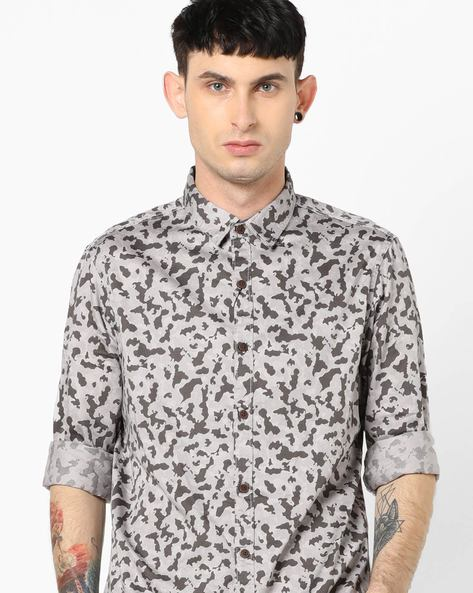 Camo Print Button-Down Shirt By AJIO ( White )
