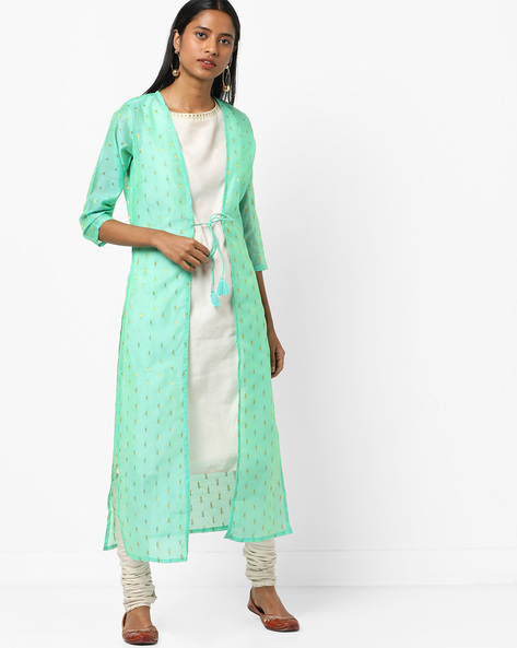 Open-Front Sheer Jacket With Dori Tie-Up By AJIO ( Lightblue )