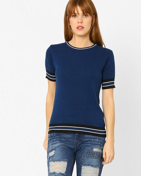 Flat-Knit Sweater By AJIO ( Blue )