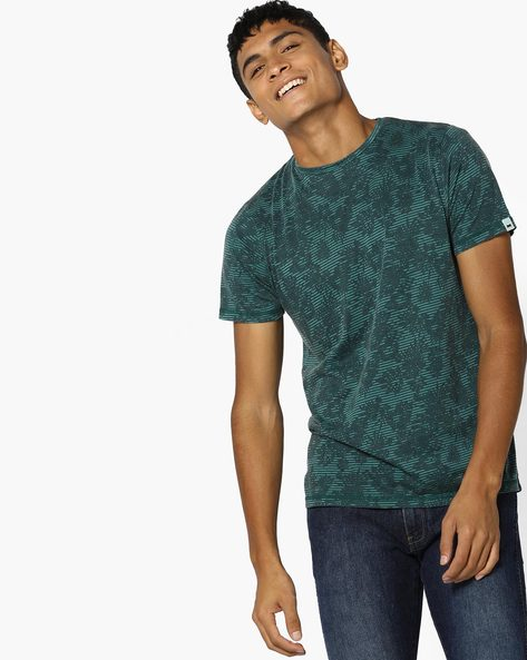Printed Muscle Fit Crew-Neck T-shirt By BASICS ( Green )