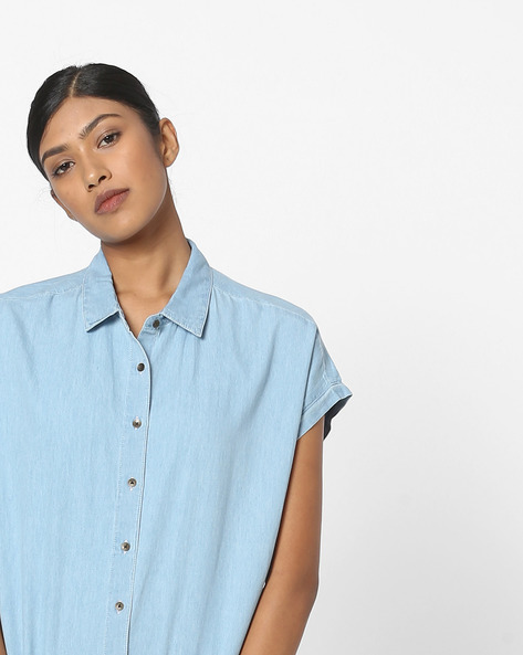 Denim Shirt With Cap Sleeves By DNMX ( Ltblue )