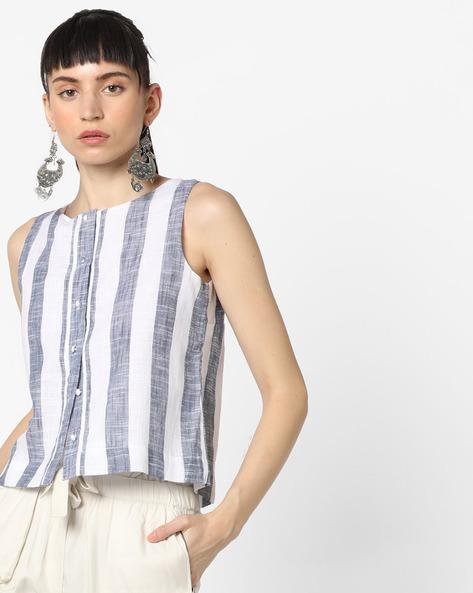 Striped Sleeveless Top By Vero Moda ( White )