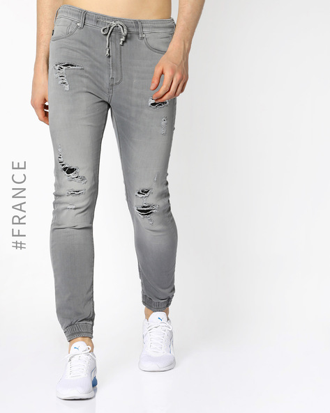 Distressed Carrot Jogger Jeans By Kaporal ( Aciddestroy )