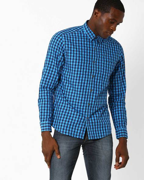 Slim Fit Checked Shirt By JOHN PLAYERS ( Blue )