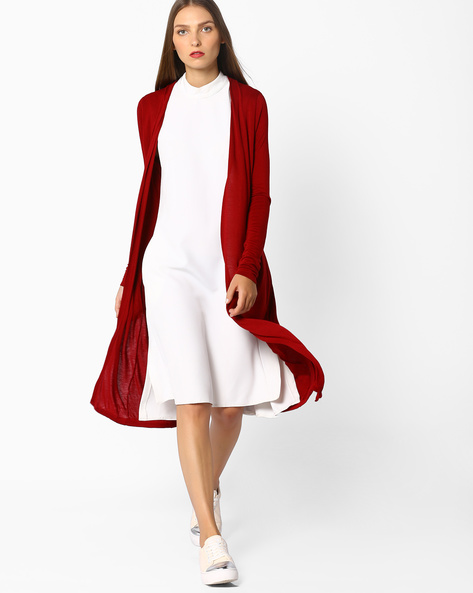 Longline Cotton Shrug By CODE By Lifestyle ( Wine )
