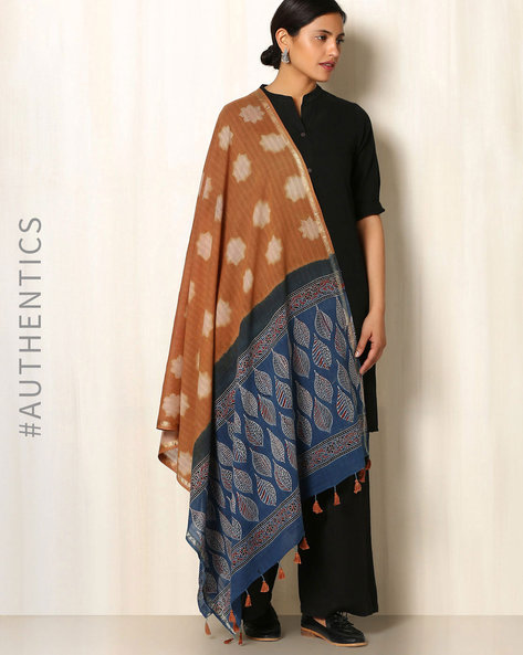 Ajrak Handblock Print Shibori Cotton Dupatta By Indie Picks ( Orange )