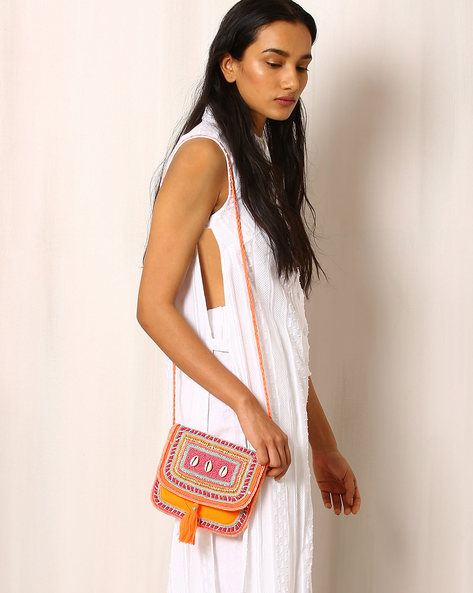 Embellished Canvas Sling Bag By Indie Picks ( Orange )