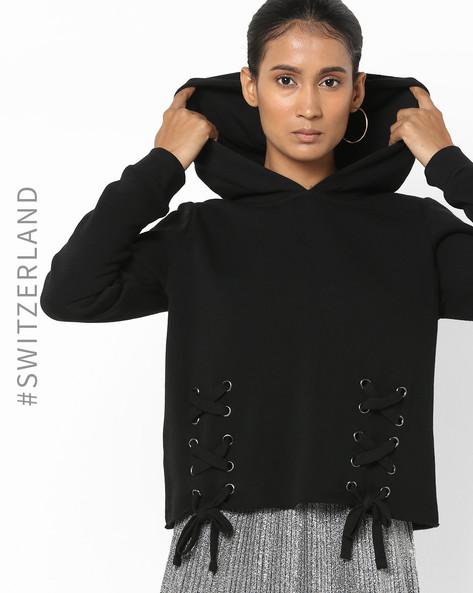 Hooded Sweatshirt With Criss-Cross Tie-Ups By TALLY WEiJL ( Black )