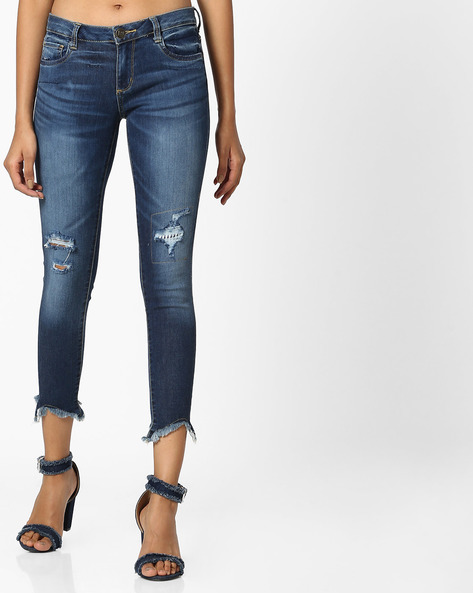Mid-Calf Length Jeans With Frayed Hems By DNMX ( Darkblue )