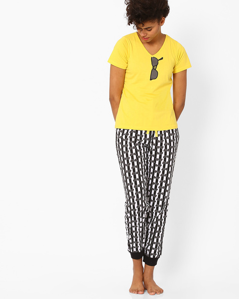 Printed Lounge Set By Heart 2 Heart ( Yellow )