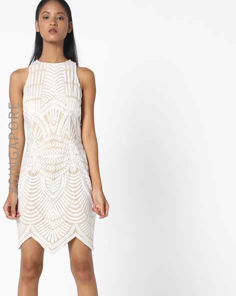 Embroidered Lace Bodycon Dress By MDS ( White )