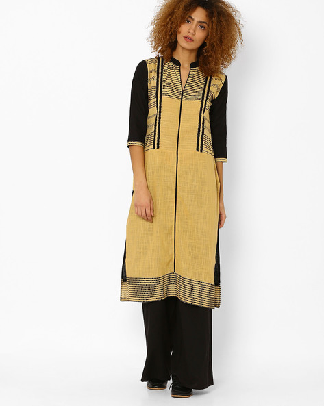 Printed Cotton Straight Kurta By Kifahari ( Beige )