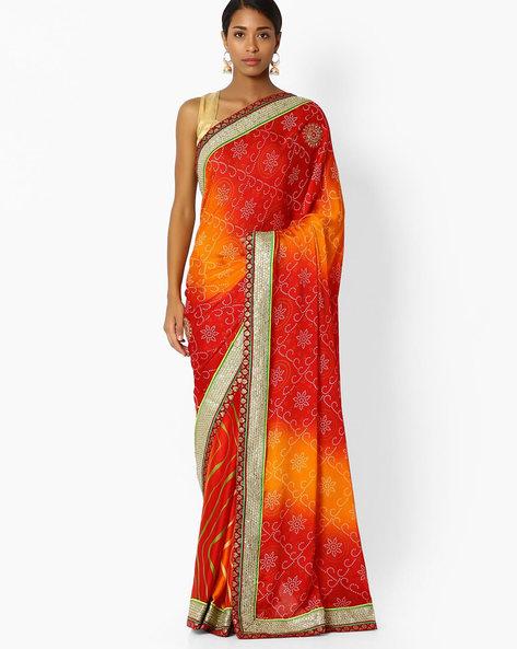 Printed Designer Saree By Shonaya ( Red )
