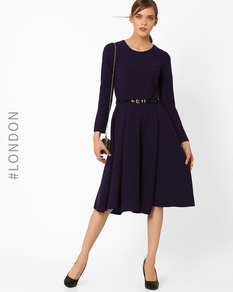 Fit & Flare Midi Dress With Belt By Closet London ( Purple )