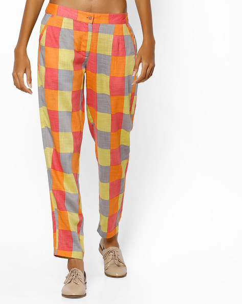 Checked Pants With Insert Pockets By AJIO ( Multi )