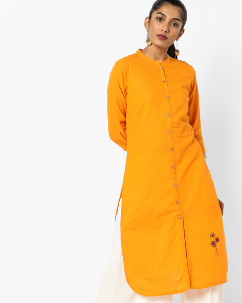 Straight Kurta With Mandarin Collar By AJIO ( Mustard )