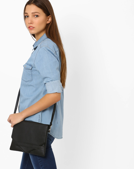 Envelope Clutch With Sling Strap By Pockit ( Black )