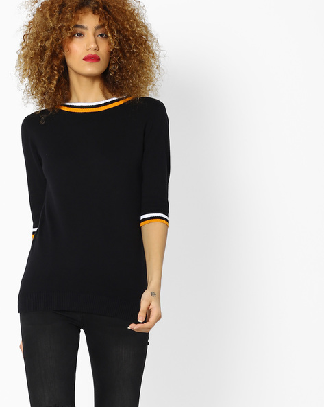 Crew-Neck Top With Contrast Sleeve Hems By FIG ( Black )