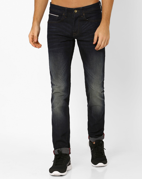 lightly washed distressed jeans by voi jeans darkblue ajio com 1450